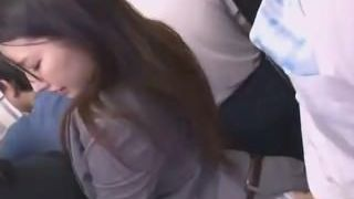 Japanese slut romped clothed in the bus