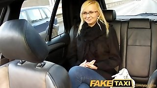 FakeTaxi Blond with glasses gets talked into sex tape