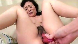 55yr senior Granny Kayoe Ozawa Pumps Out and Creamed (Uncensored)
