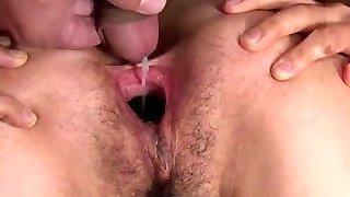 Insatiable asian girl man-lava fill & pussy gape