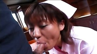 Ugly Japanese nurse avidly blows delicious hot cock in the hospital