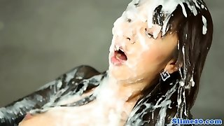 Bukkake drenched asian cockrides at gloryhole
