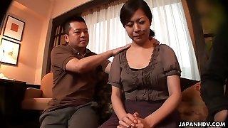 Buxom Japanese lady Juri Sawada gets her wet fuckbox masturbated well