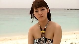 Horny Chinese model Rei Mizuna in Exotic Nubiles, Beach JAV clip