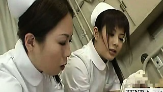 Subtitled CFNM Asian nurses tender beef whistle inspection