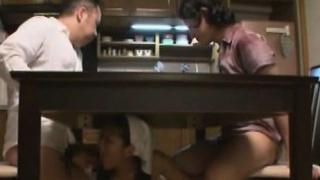 Subtitled naturist Japanese maid dinner time fellatios
