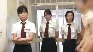 CFNM Asian inmates line up for daily pipe inspection and handjob