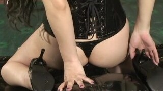 Japanese Female Domination Saran Facesitting and Foot Fetish to Rubber Slave