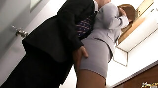 Haruki Sato gets smashed in her hubby�s office
