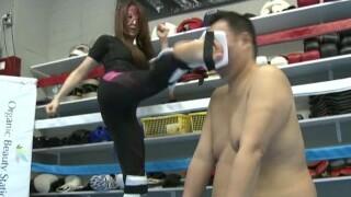 Japanese mistress Kaede kickboxing domination part 2