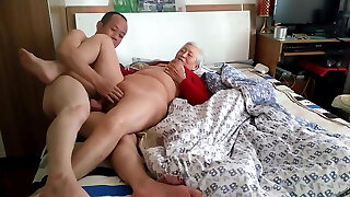 Amateur Asian Grandmother With Younger