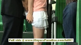 Rio asian teenager honey getting her hairy pussy fondled on the bus