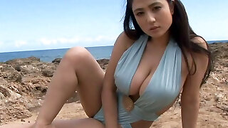 Sporty Japanese cutie Nonami Takizawa demonstrates off her juicy tits on webcam outdoors