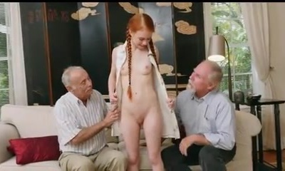 older men with young redhair babe