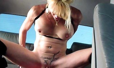 Gigantic dildo pounding mature amateur wife