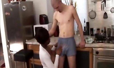 Black milf takes skinny milky guy