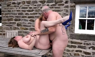 2 busty mature milfs boinked outdoors
