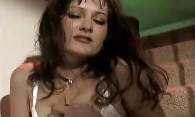 Horny Lady Masturbates On The Stairs