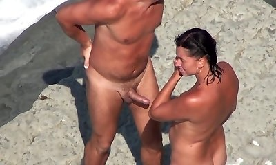 Naked Beach - Mature MMF Three Way on the Shore