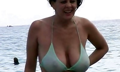 Steaming Milf in Swimsuit at The Beach