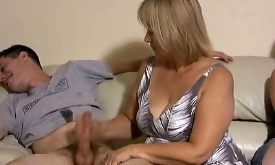 Mommy and daughter jerking two guys off