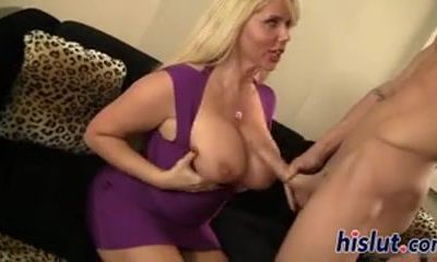 big-titted blonde MILF fucks her boyfriend