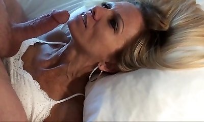 Smallish mature blonde POV facial and replay
