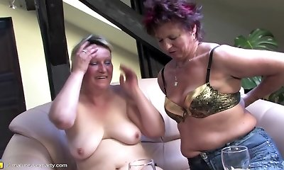 Mature romp party with moms and boy