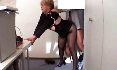Office Granny Pounded  in stockings