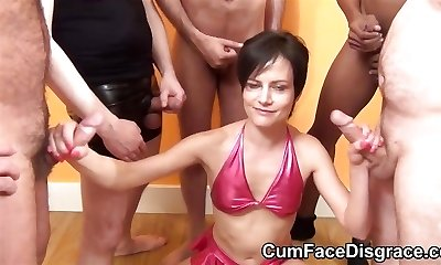 Petite mature deepthroats cocks at bukkake party