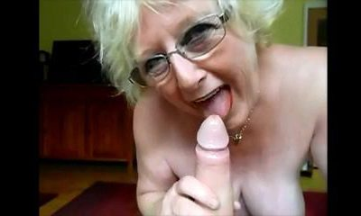 granny nice bj and domme gives huge cock hand-job
