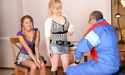 TrickyOldTeacher - 2 hot coeds get bare and give mature lecturer threesome and sucking