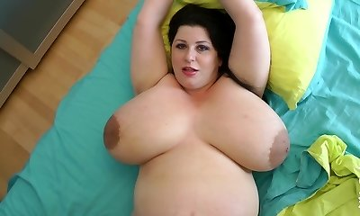 biggest fun bags ever on a 9 month pregnant cougar