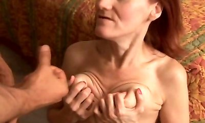 Lean mature redhead enjoys to fuck and the taste of cum