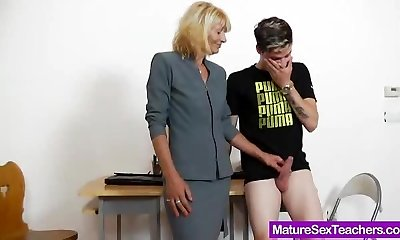 Mommy teacher frolicking plus a cock