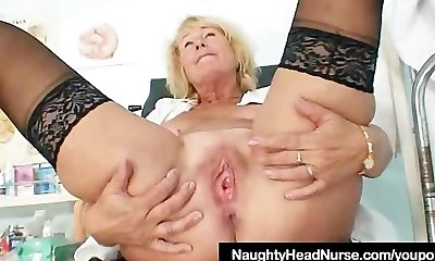 Blonde milf Greta big congenital boobs and uniform
