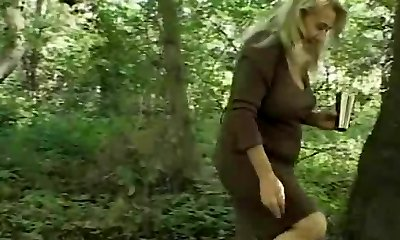 Chunky Granny's Hairy Cunt Pummeled In The Forest