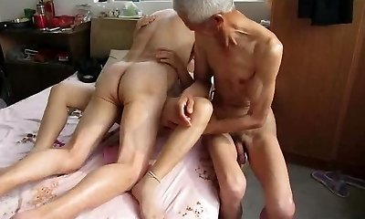 Japanese Grandpa Trio with mature woman