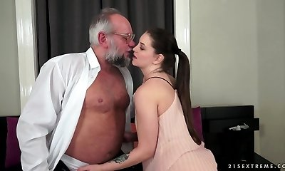Angelina Brill tears up an older gentleman