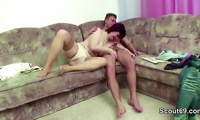 Step-Mummy Help Him to Lost Cherry and Get His First-ever Fuck
