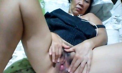 Filipino granny 58 fucking me stupid on webcam. (Manila)1