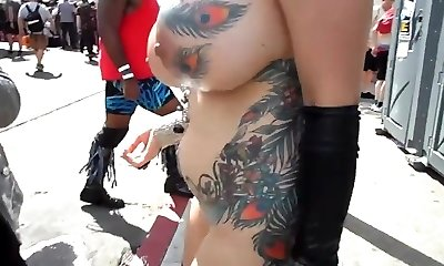 Big-chested mature exhibitionist with groping in public