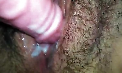 Close Up Hairy Vagina Creaming