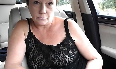 Mature tiny tit braless dare in van