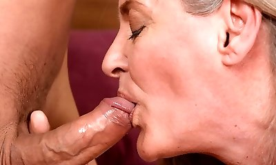 Big butt grand mother rides hard man-meat