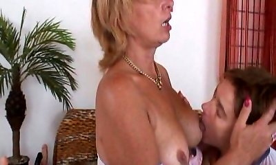 Mature girl-on-girl faux-cock and strap-on action
