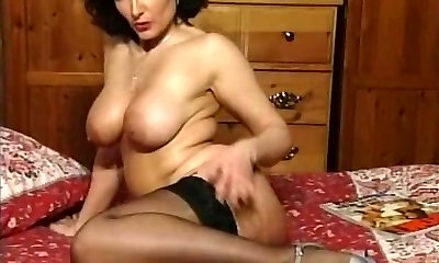 Hot Black-haired Busty Milf Teasing in various garments V SEXY!