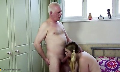 Old father fucks young daughter-in-law