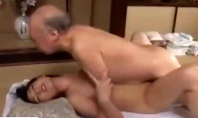 Japanese girl compels helpless elder uncle to fuck her