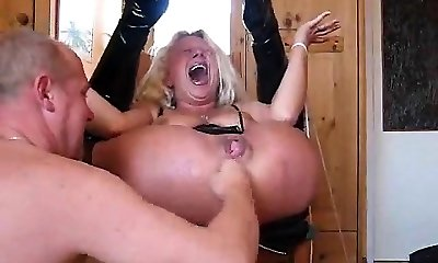 Slut tied up and gets pooper tucked